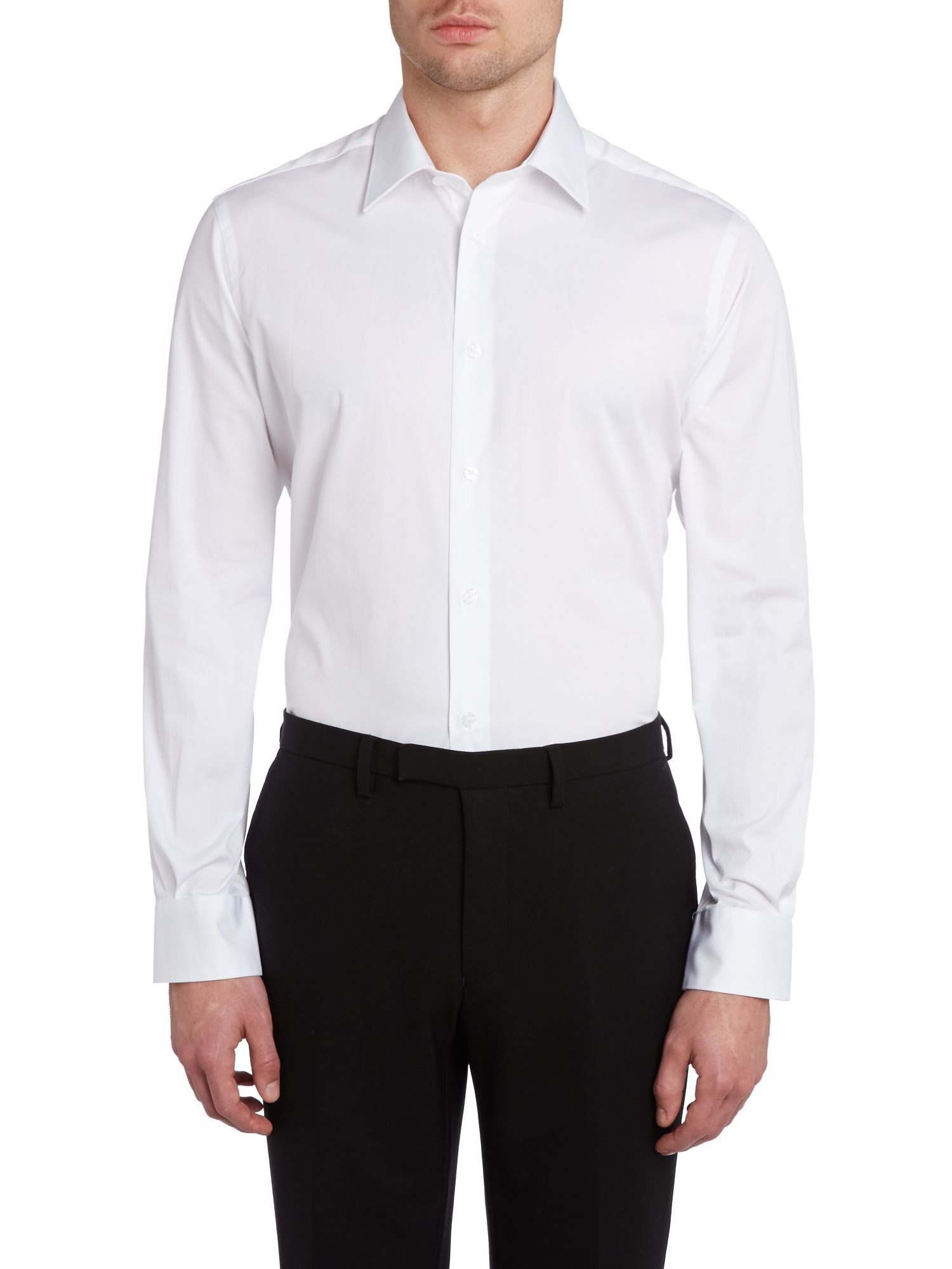 Slim fit point collar shirt