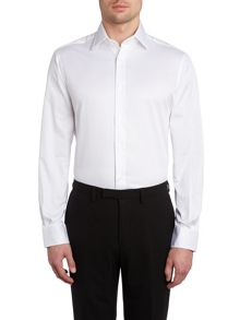 Slim fit twill two button collar shirt