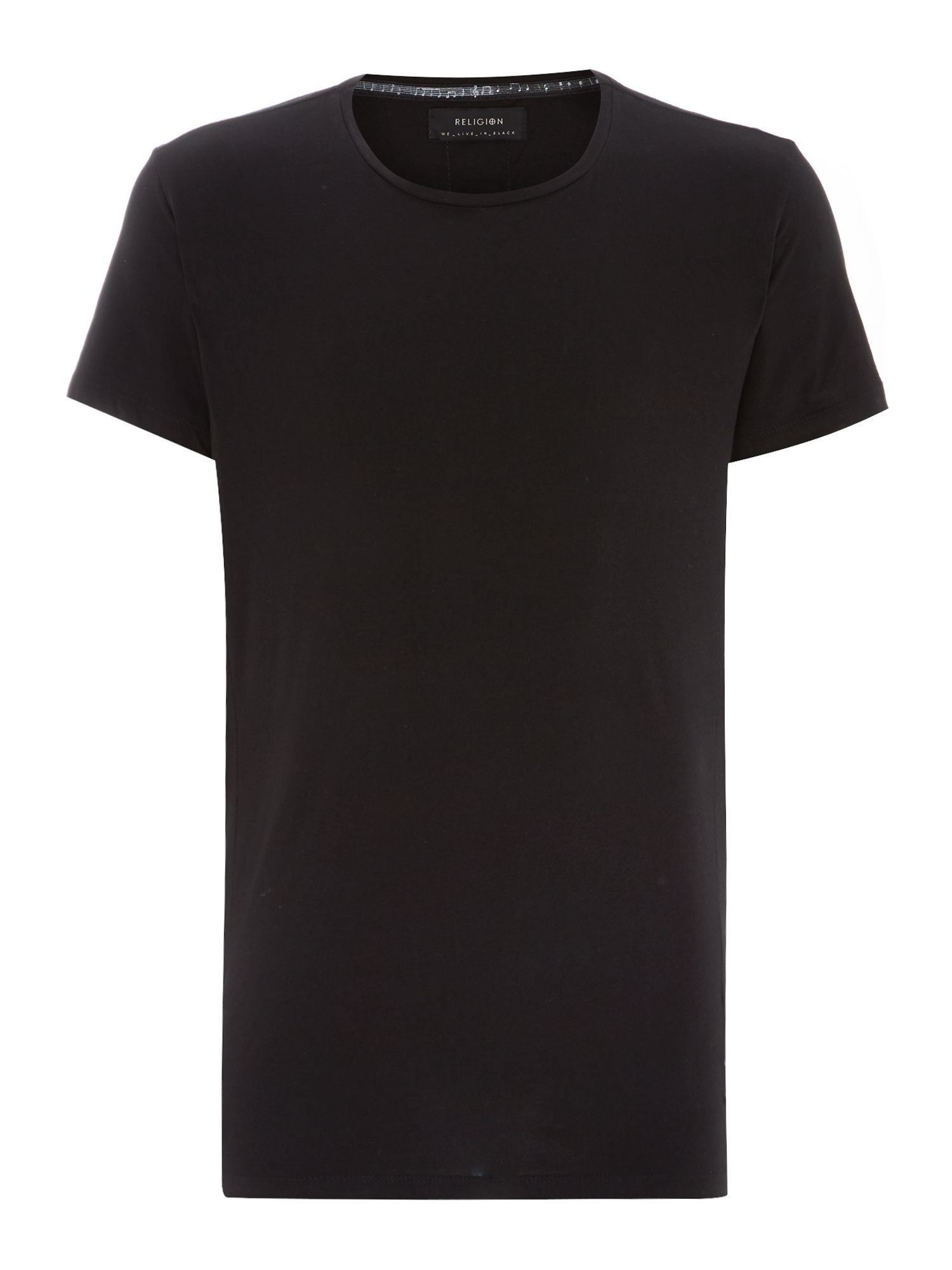 Leather trim sleeve crew neck t shirt