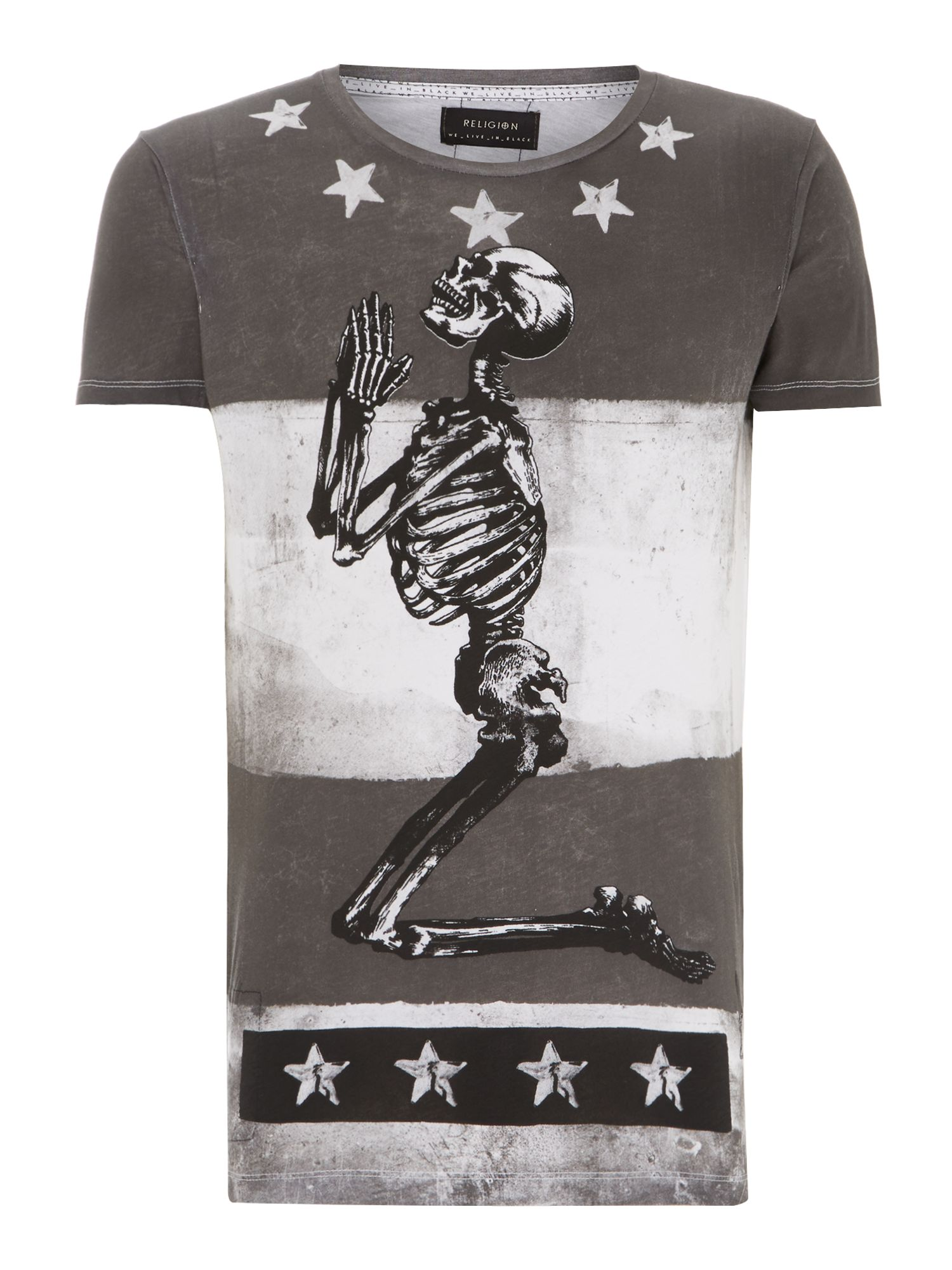 Praying skeleton graphic t shirt