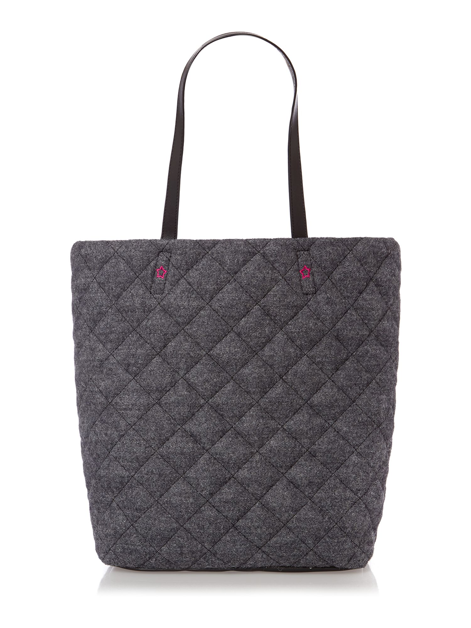 Boiled wool grey quilted tote bag