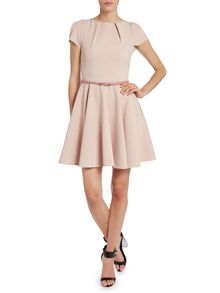 Cap sleeve flared belted dress