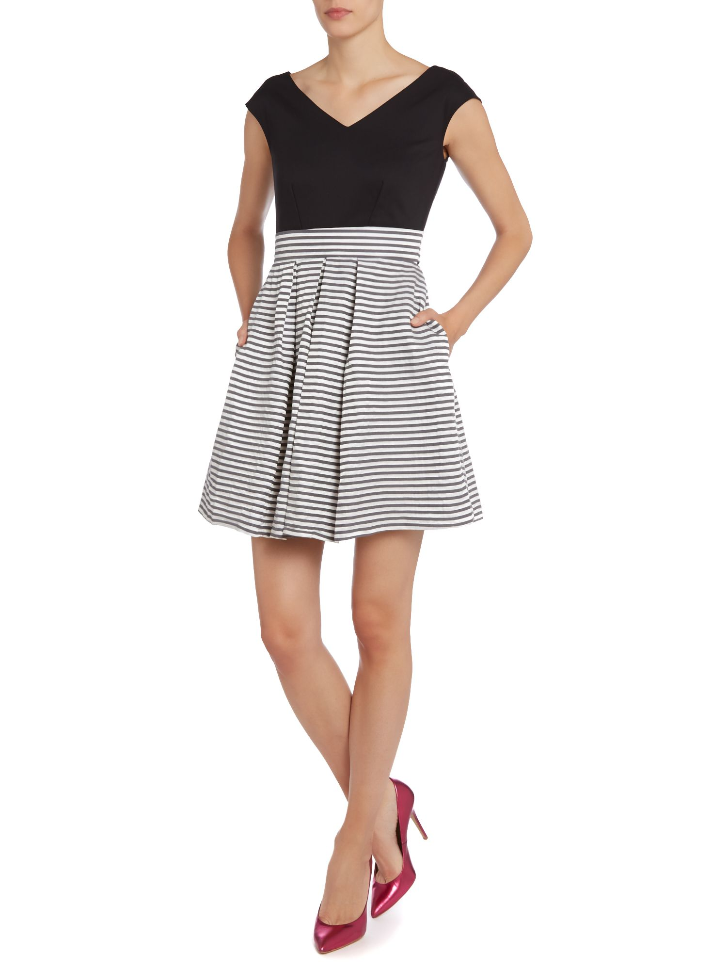 Stripe taffeta contrast dress