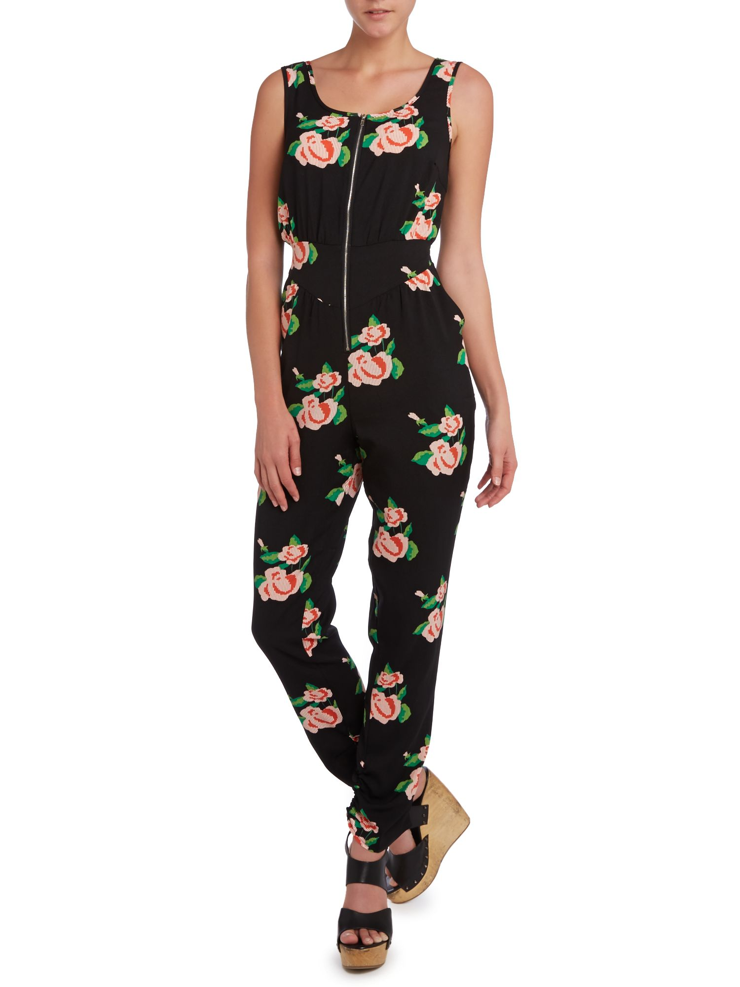 Rose Print Jumpsuit