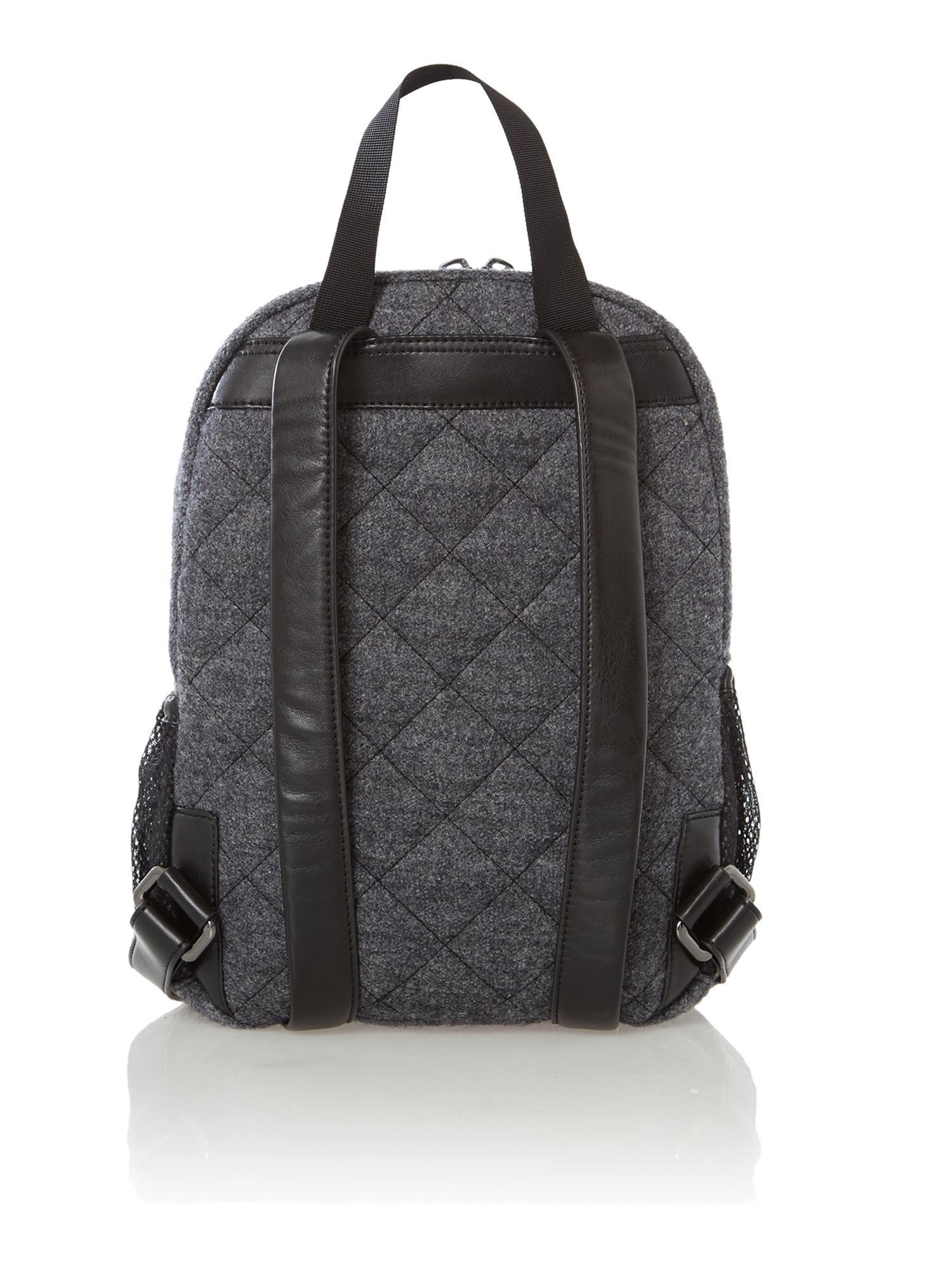 Boiled wool grey quilted backpack