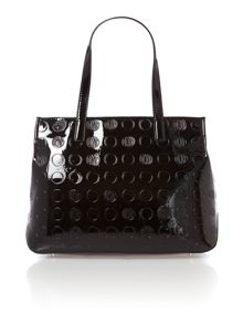 Patent coin black large tote bag