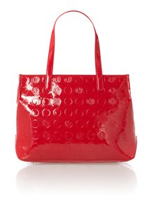 Patent coin red large tote bag