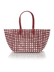 Patent coin multi-coloured small tote bag