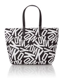 Printed multi-coloured tote bag with zip pocket