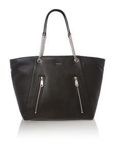 Soft leather black tote bag