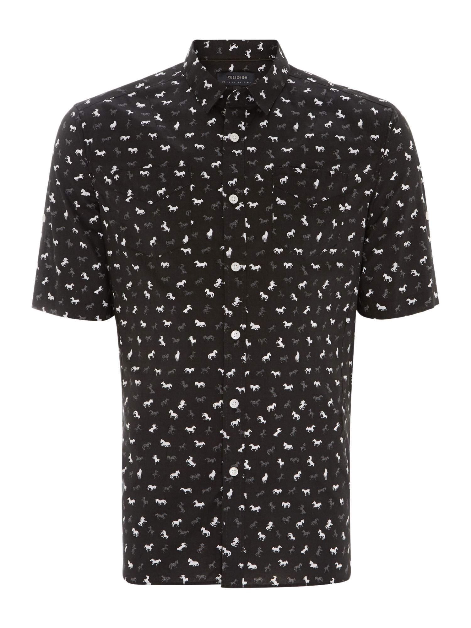 All over horse print short sleeve shirt