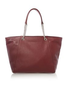Soft leather red tote bag