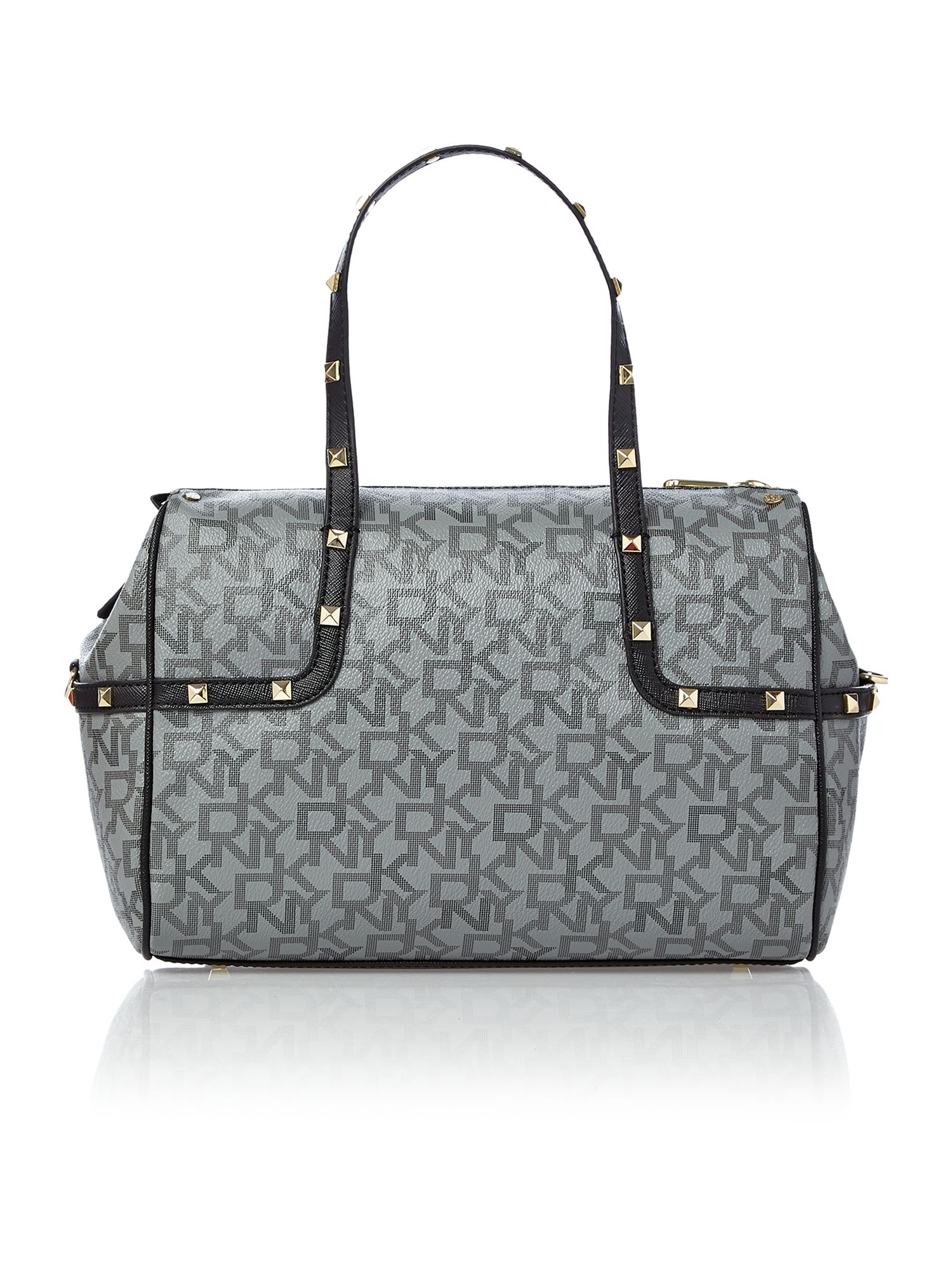 Coated logo black small satchel with studs