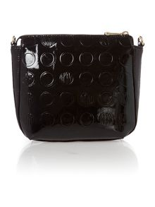 Patent coin black cross body bag