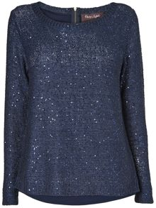 Vicky zip back sequin knit jumper