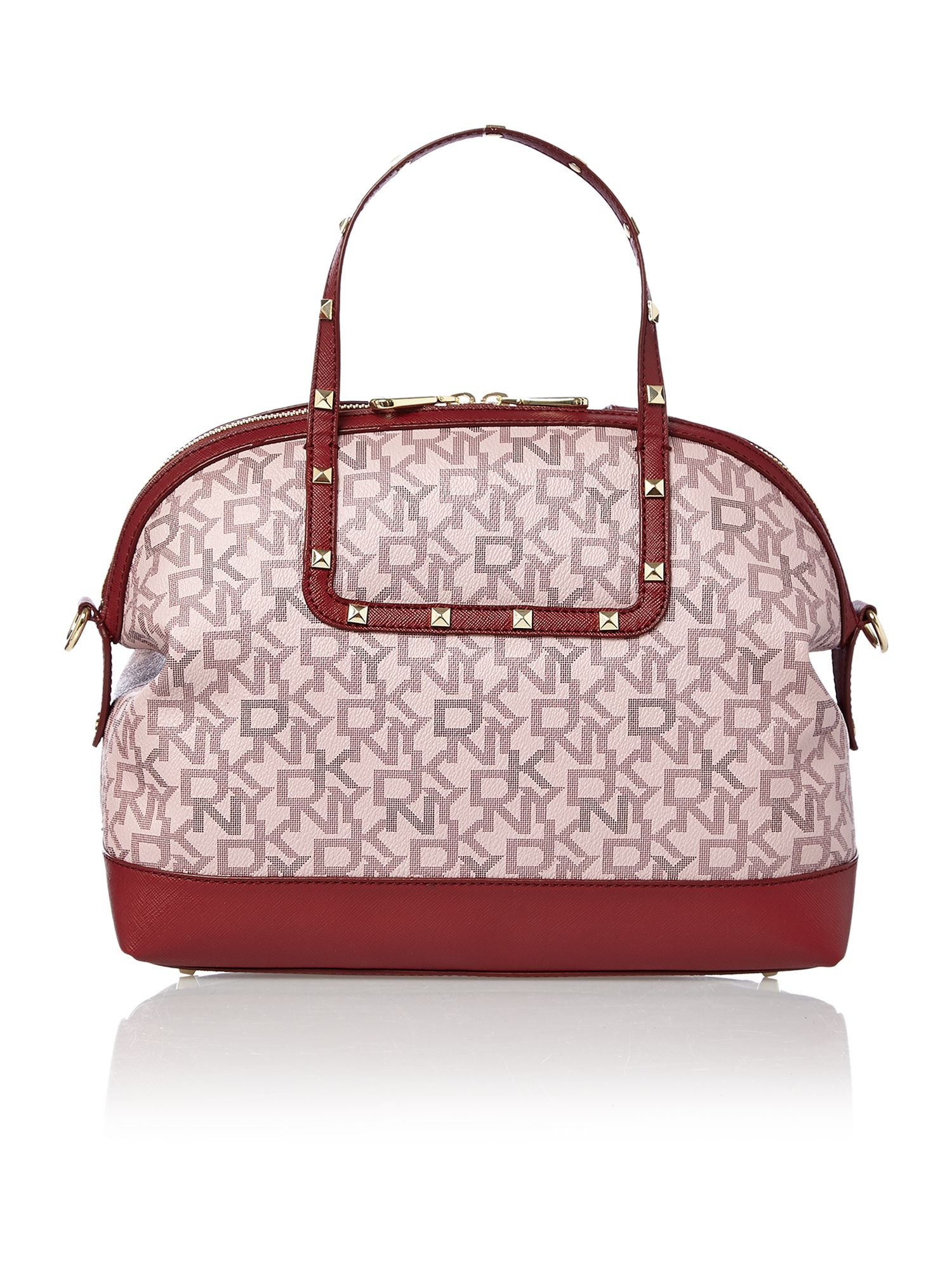 Coated logo red rounded satchel with studs
