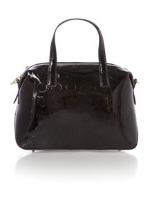 Patent coin black satchel with detail