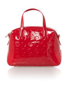 Patent coin red satchel with detail