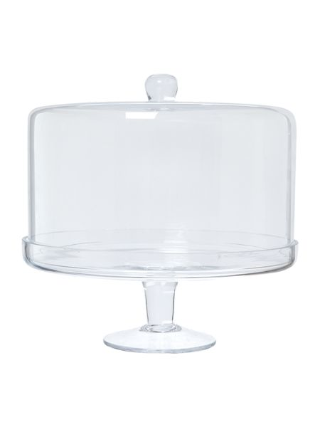 Linea Pave cake stand with dome 30cm x 28cm