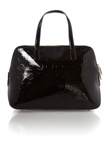 Patent coin black rounded satchel with detail
