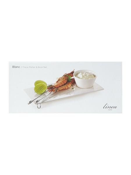 Linea Blanc fine bone china rect platter with bowl
