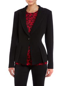 Long sleeve button pleat front jacket