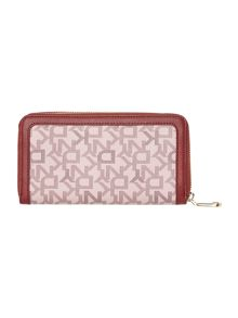 Coated logo red large zip around purse