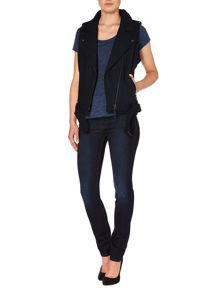 Sleeveless perfecto herringbone jacket