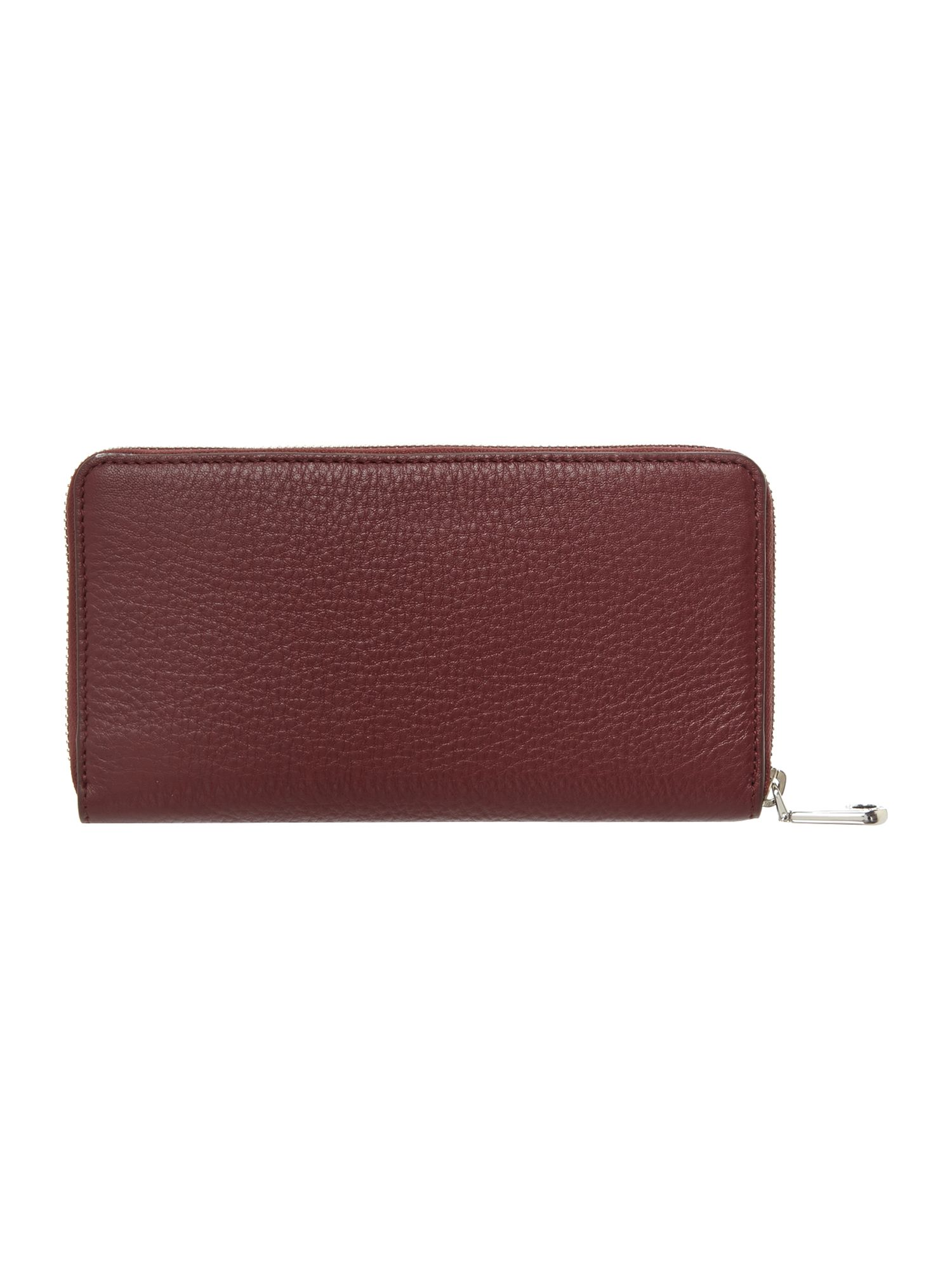 Soft leather red large zip around purse