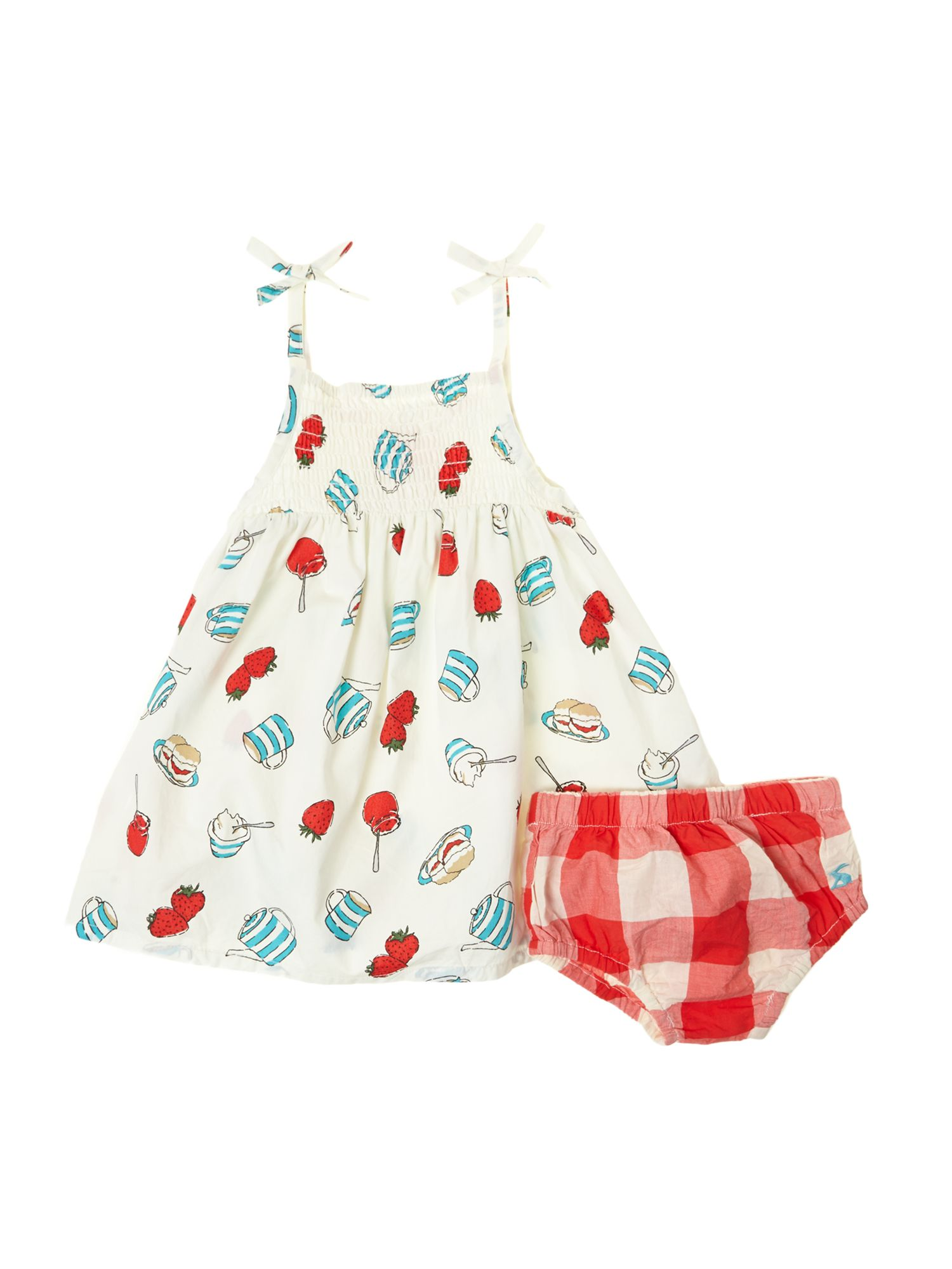 Baby girls cream tea print dress with bloomers