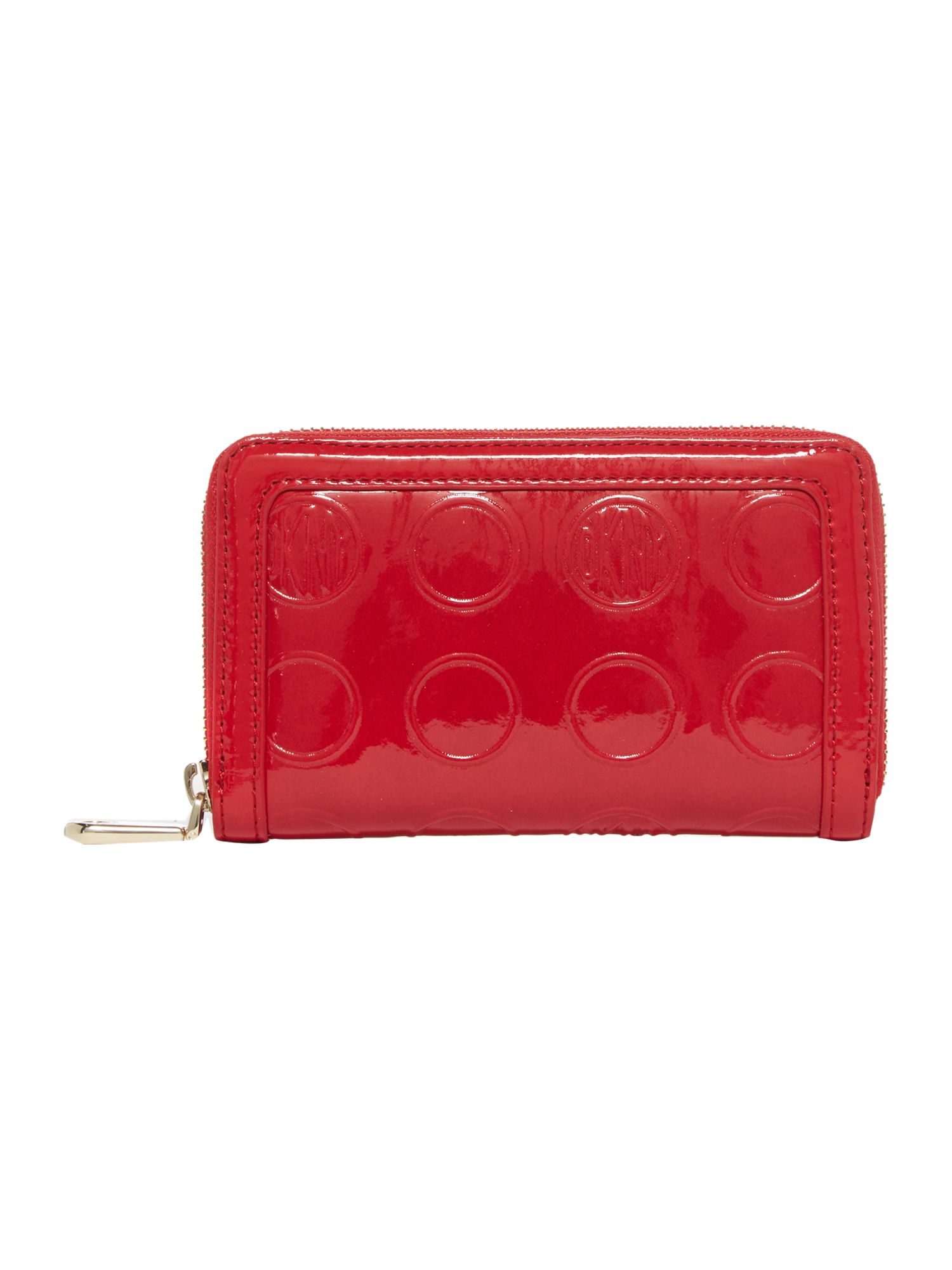 Red medium patent zip around purse