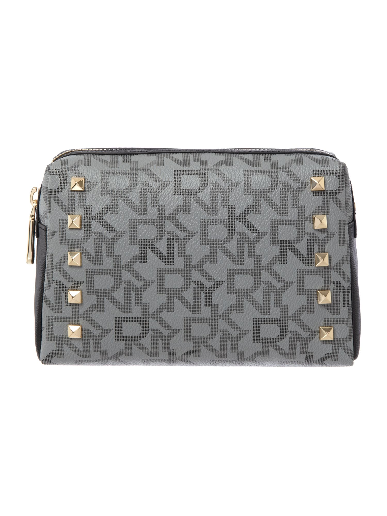 Coated logo black medium cosmetic bag