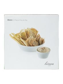 Linea Blanc fine bone china 2 piece chip and dip set