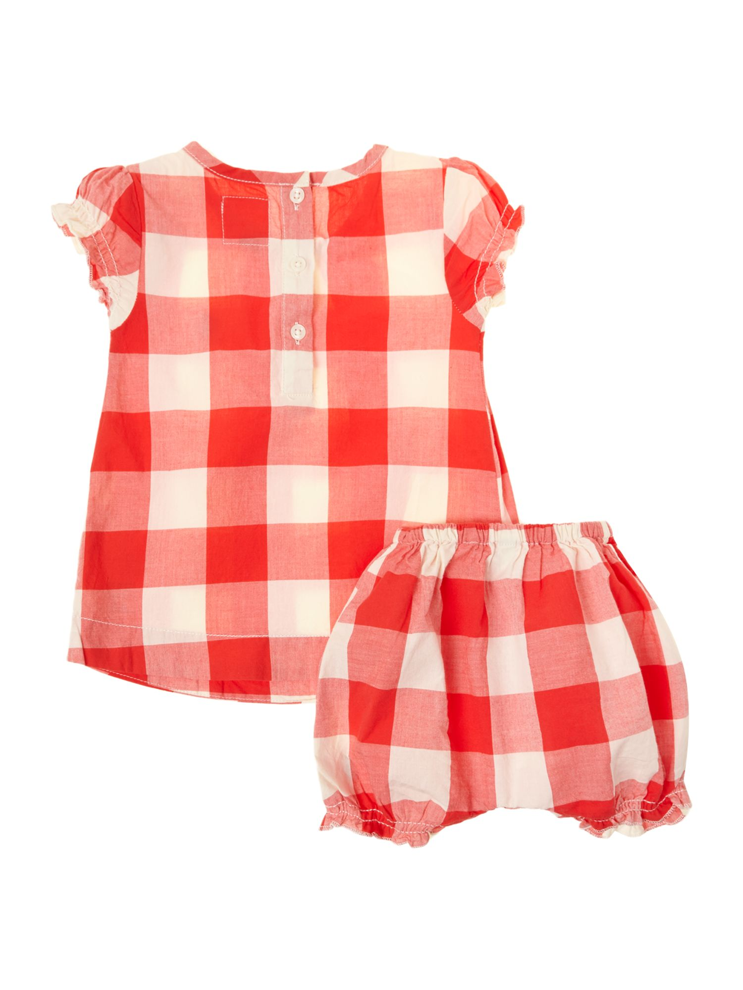 Baby gingham print dress with bloomers