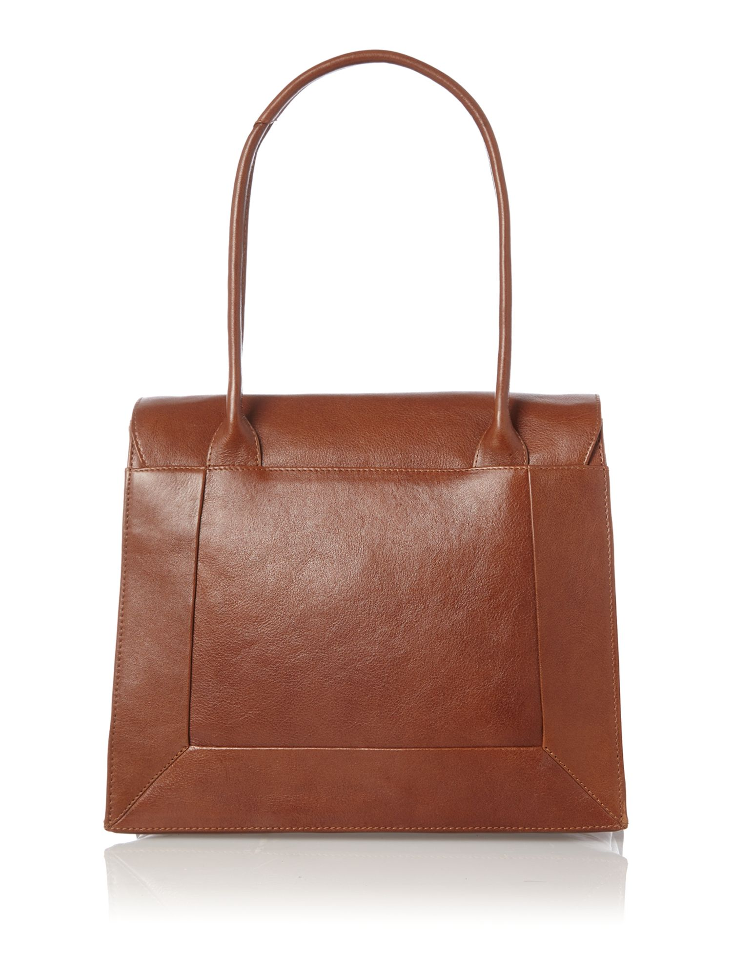 Border tan leather large flapover tote bag
