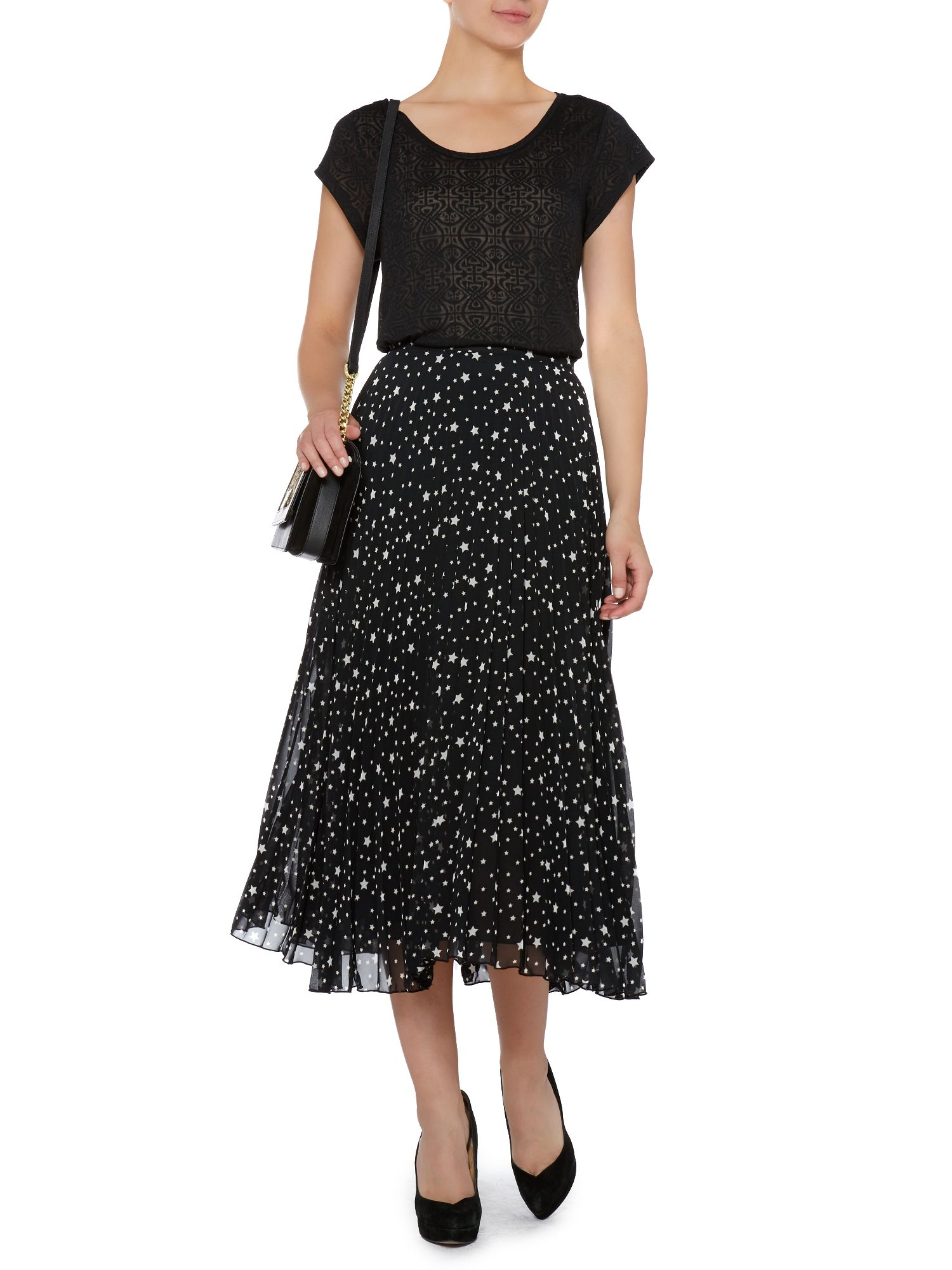 Star pleated midi skirt