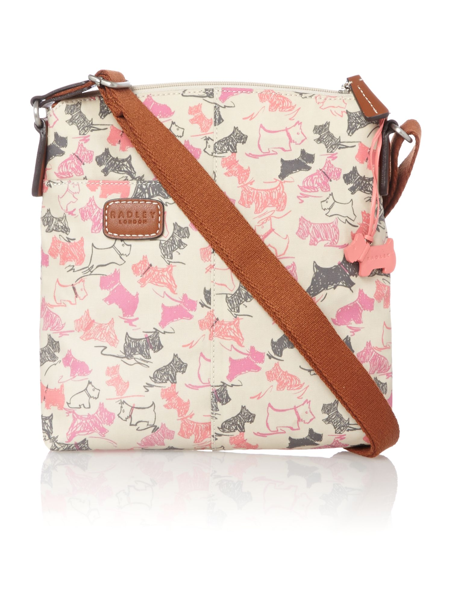 Doodle dog medium ziptop xbody ivory handbag