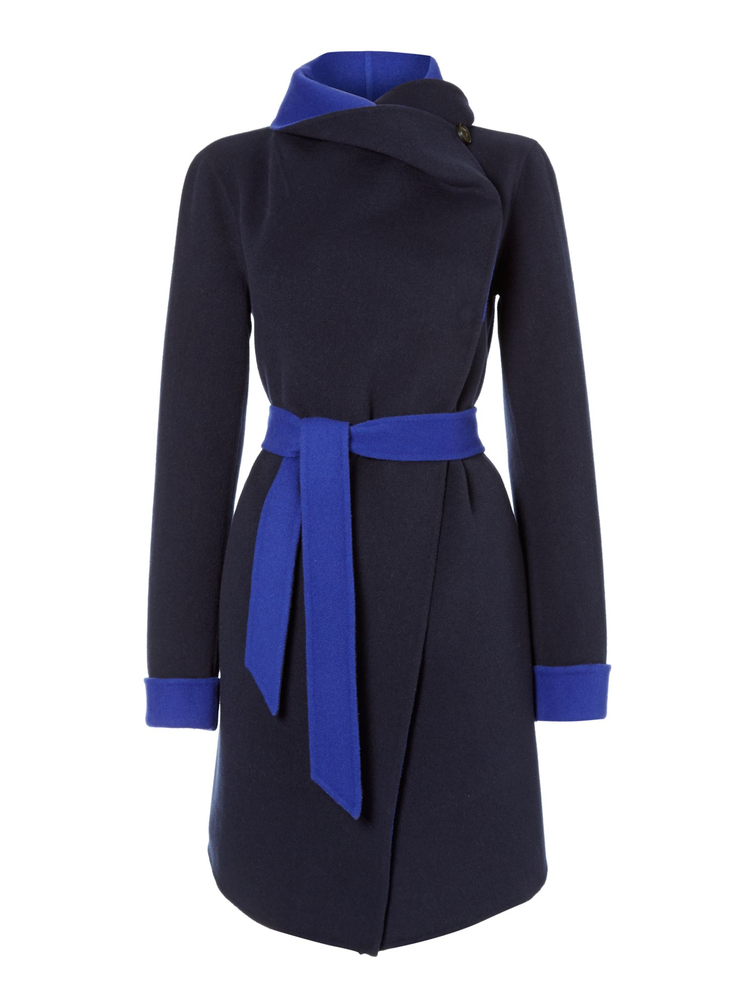 Long sleeve contrast coat with belt