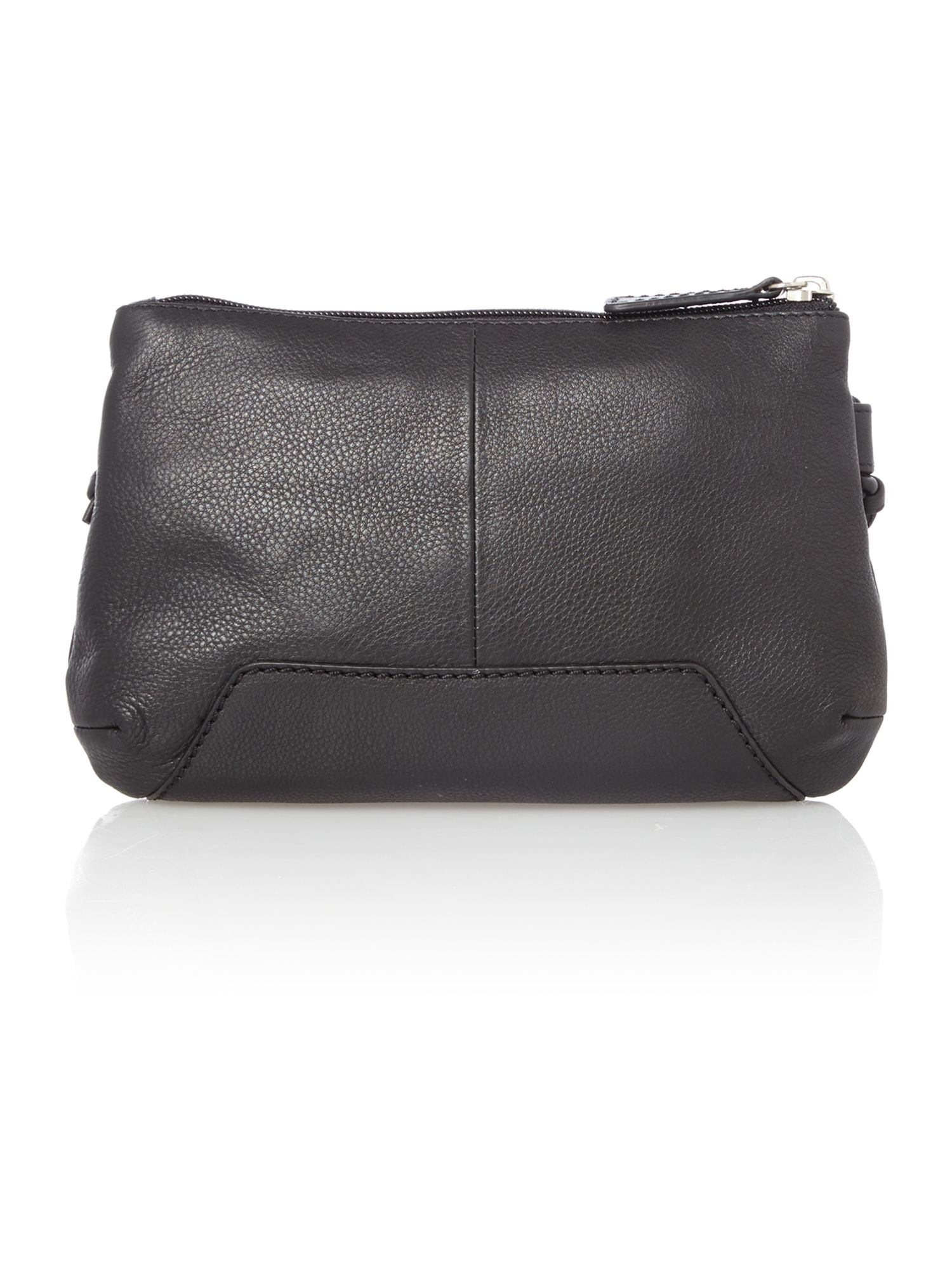 Finsbury small ziptop xbody black leather bag