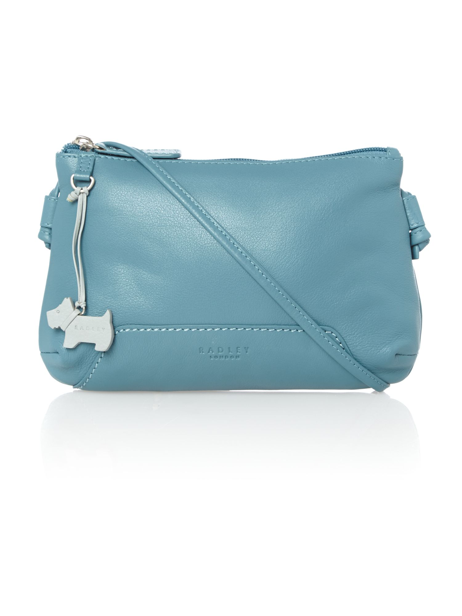 Finsbury small ziptop xbody blue leather bag