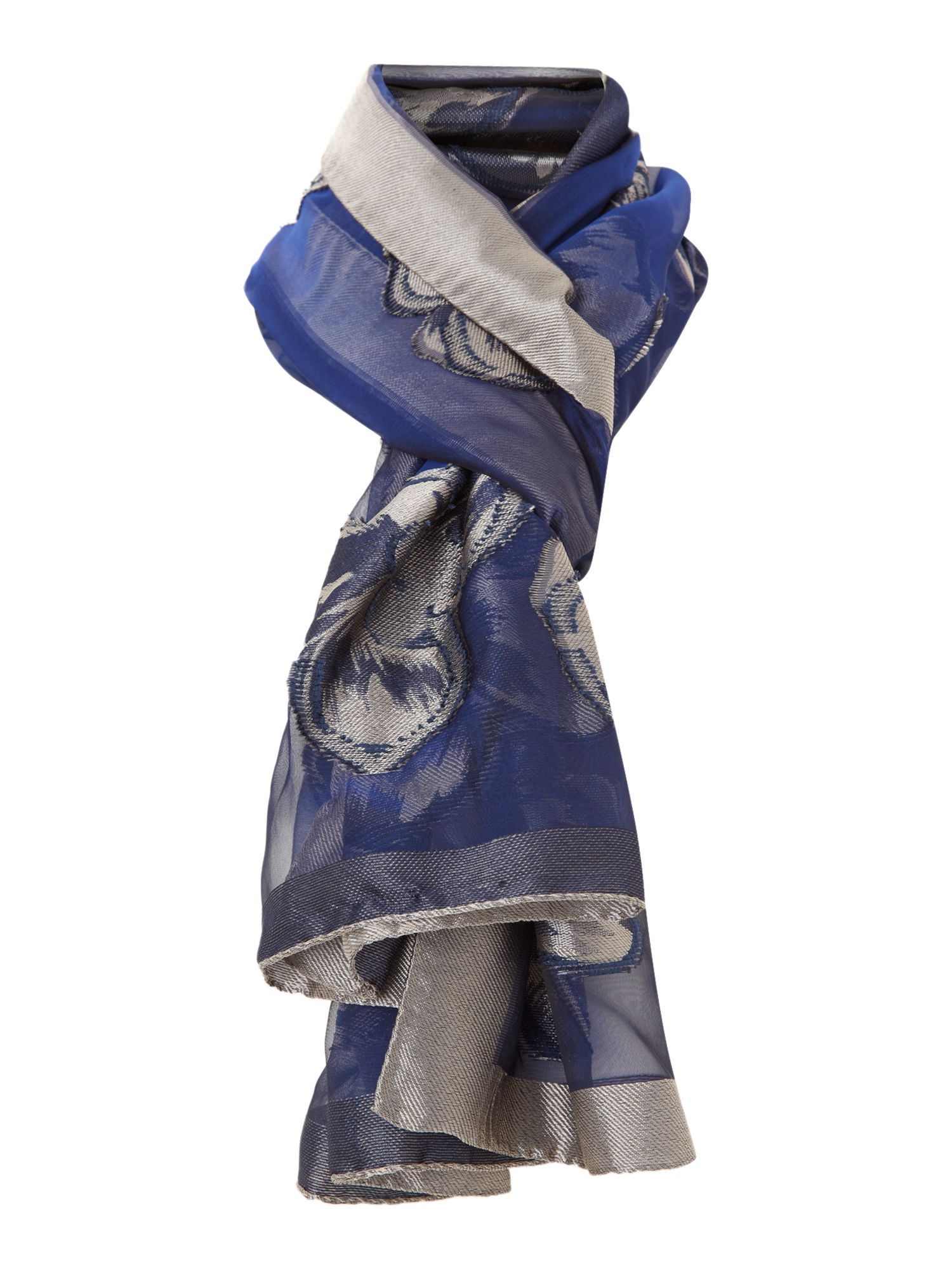 Blue scarf with silk trim