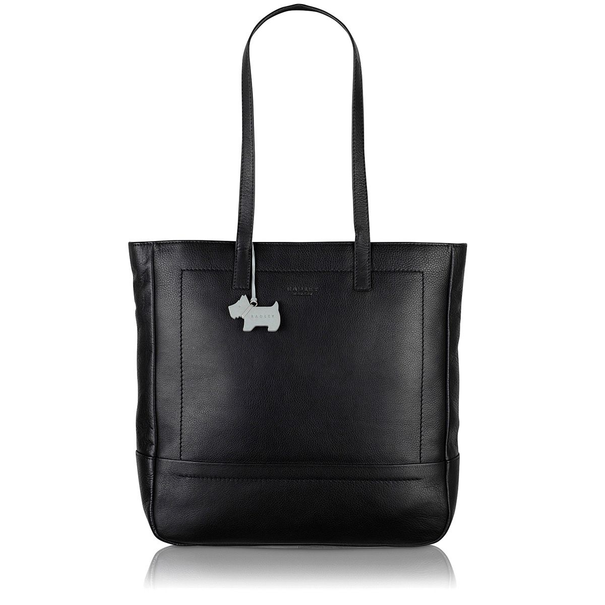 Finsbury large ziptop tote leather black bag