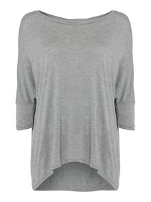 Tracey dipped hem top in light grey heather