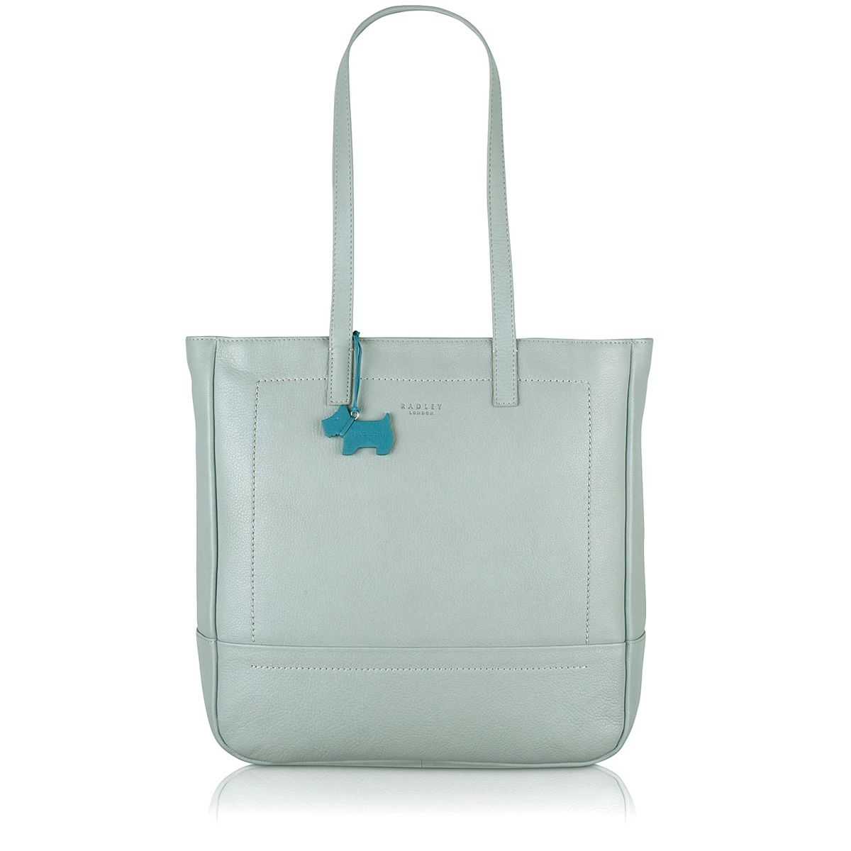 Finsbury large ziptop tote leather blue bag