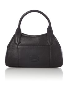 Fulham small ziptop grab black leather bag