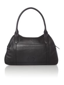 Fulham large ziptop leather black tote bag