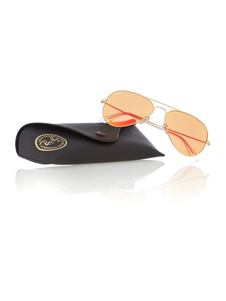 Ray-Ban Men`s crystal brown mirror orange pilot sunglasse