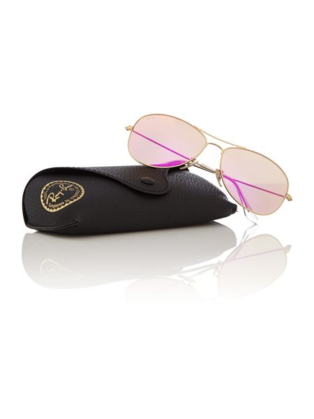 Ray-Ban Men`s cyclamen mirror pilot sunglasses