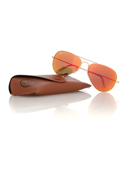 Ray-Ban Men brown mirror red polar pilot sunglasses