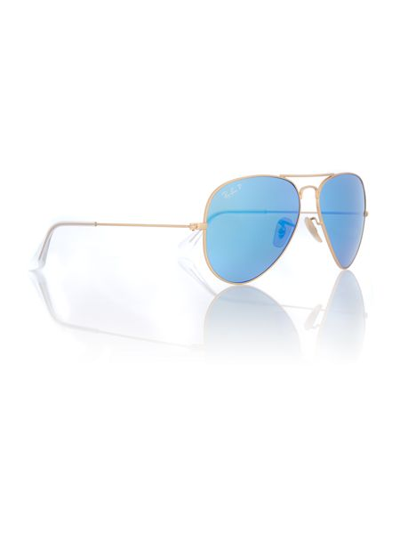 Ray-Ban Men blue mirror polar pilot sunglasses